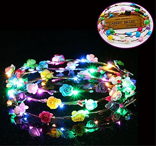 - 5pcs Flashing LED Tiara Headbands Bohomia Flowers Hairband Hawaii Headwear Glowing Head Wreaths for Girls Women Party Decor(mixed)