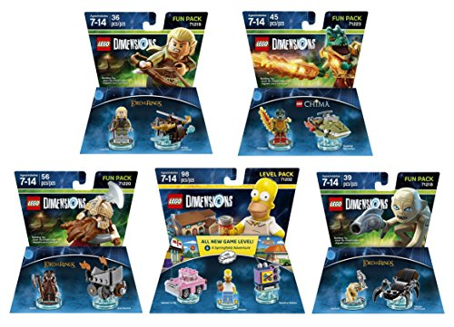 Lego Racers Ring (The Simpsons Homer Simpson Level Pack + The Lord Of The Rings Legolas Gimli Gollum + The Legend Of Chima Cragger Fun Packs - LEGO Dimensions - Not Machine Specific)