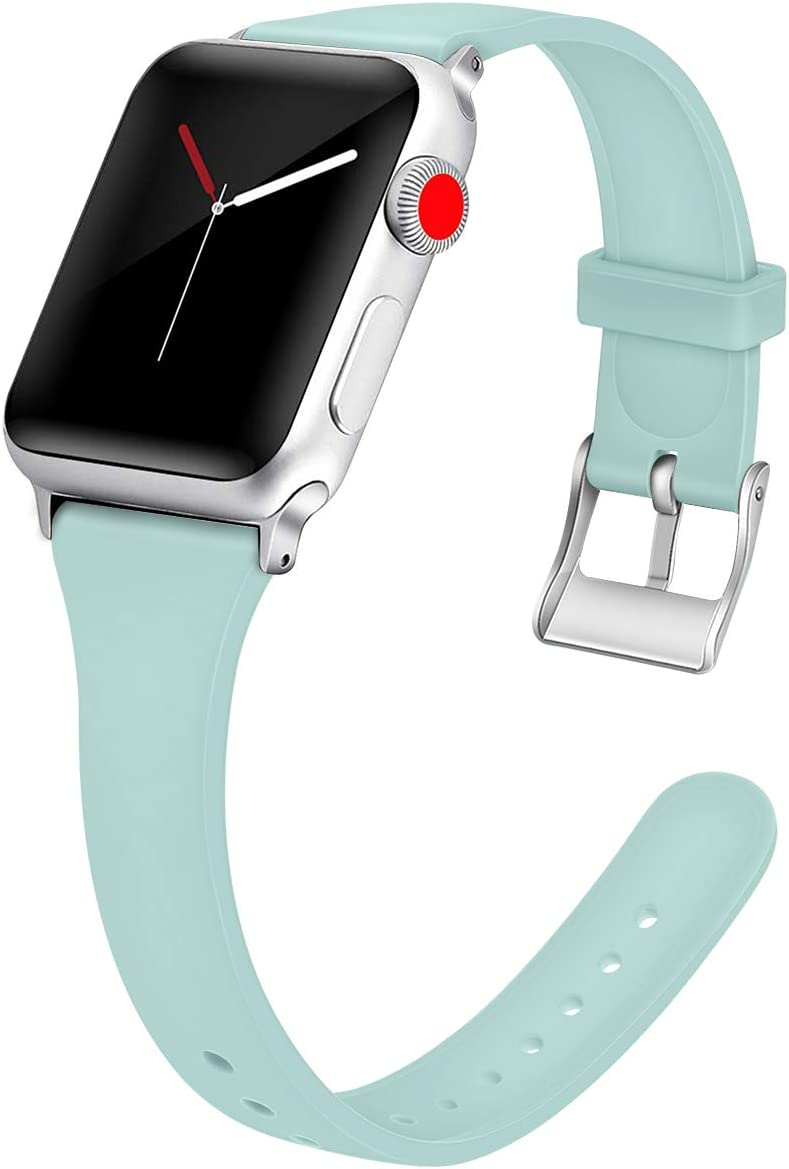 for Apple Watch Band Compatible with Apple Watch Sport Strap 40mm 44mm 42mm 38mm Soft Silicone Watch Strap Replacement Bracelet for iWatch Sport Band, Series 4, Series 3, Series 2, Series 1 S/M M/L