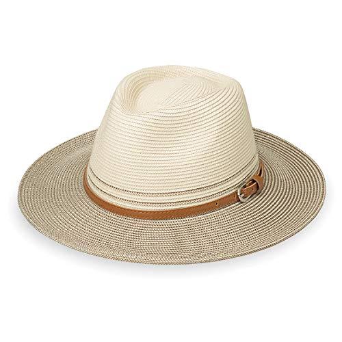 Wallaroo Hat Company Women's Kristy Fedora - UPF 50+, Lightweight, Adjustable, Packable, Designed in Australia, Two-Toned Ivory/Stone