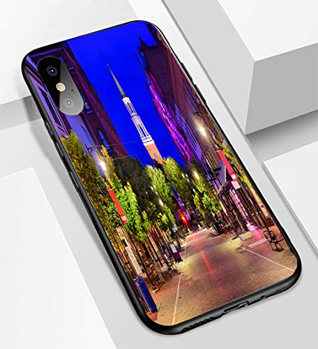 iPhone X/XS Ultra-Thin Glass Back Phone case,Church Street in Burlington Vermont Soft and Easy to Protect The Protective case (Church Street Burlington)