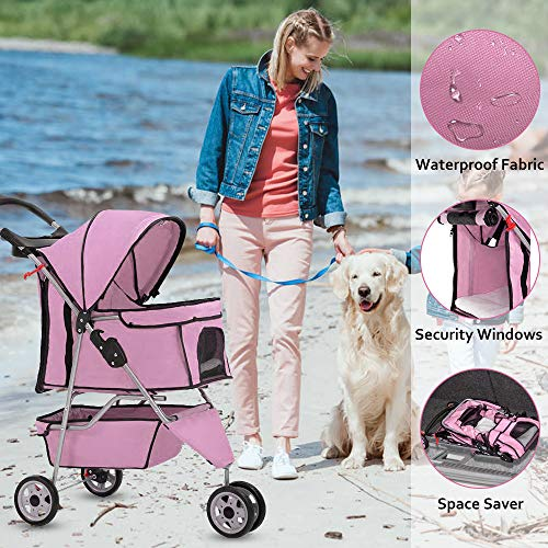 XXFBag Pet Stroller for Dog/Cat Jogger Stroller Travel Easy Fold with Removable Liner,Cup Holder,Storage Ventilation 3 Wheels 35Lbs Capacity for Small-Medium Dogs, Cats,Pink