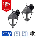IN HOME 1-Light Outdoor Exterior Wall Down Lantern, Traditional Porch Patio Lighting Fixture L02 with One E26 Base, Water-Proof, Black Cast Aluminum Housing, Clear Glass Panels, (2 Pack) ETL Listed