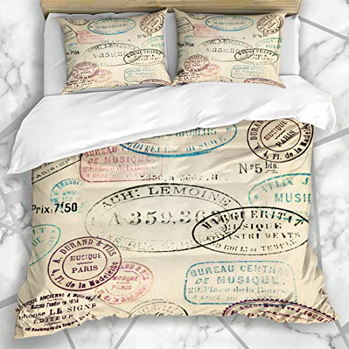 Ahawoso Duvet Cover Sets Queen/Full 90x90 Text Postage Vintage Stamps French Old Collage Travel Label Nostalgia Design Microfiber Bedding with 2 Pillow Shams