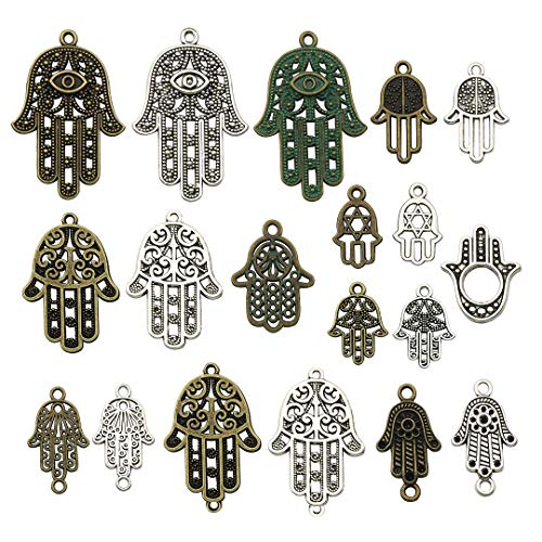 iloveDIYbeads 38pcs Craft Supplies Antique Silver Bronze Hamsa Hand of Fatima Symbol Charms Pendants for Crafting, Jewelry Findings Making Accessory for DIY Necklace Bracelet (Hand of Fatima)