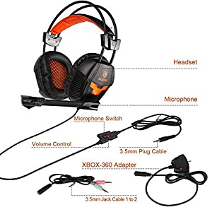 2017 Professional Multi-platform Stereo Gaming Headset Over-Ear Wired Computer Gaming Headphones With Mic 3.5mm Jack For PC/XBOX ONE/PS4 Orange