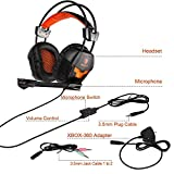 Gaming Headset PS4, Xbox one PC Gaming Headphone Stereo Over ear Headphones Wired 3.5mm Plug For Multi-Platform with Microphone Volume Control Black Orange (Adapter contains)