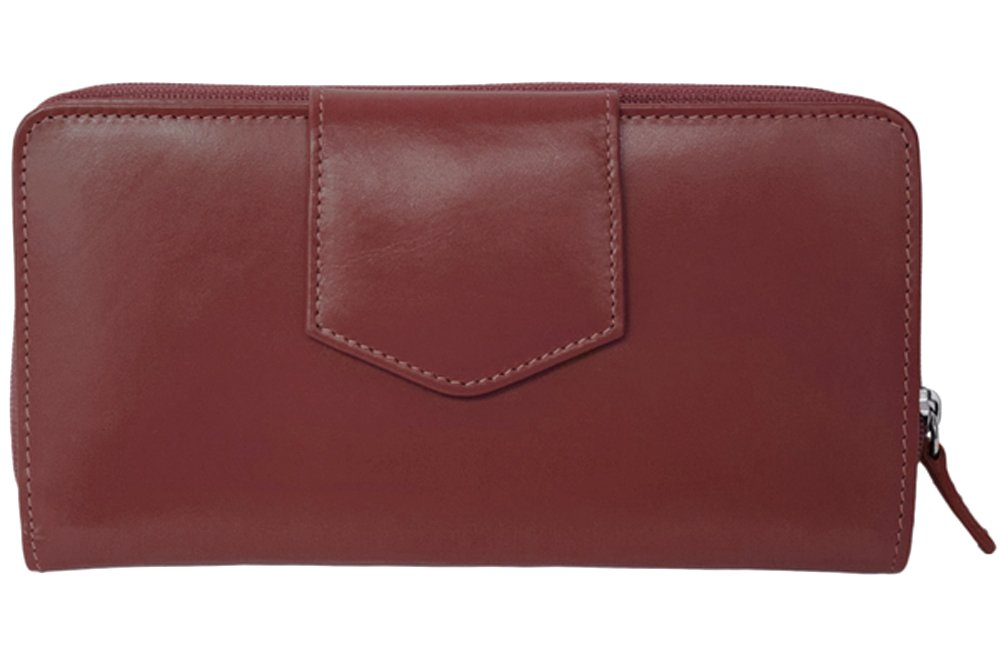 ili Leather 7410 Checkbook Wallet with RFID Blocking (Fine Wine)