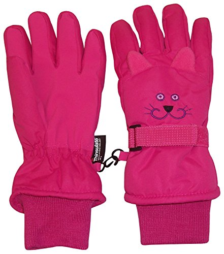 (N'Ice Caps Kids Cute Animal Faces Cold Weather Thinsulate Waterproof Gloves (Kitty - Fuchsia 1, 6-7 Years))