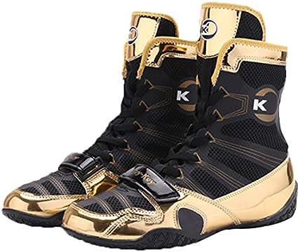 QZF Lucha Zapatos de Boxeo Zapatos del Top del Alto de Boxeo con Transpirable Antideslizante Suela de Goma Durabilidad Fit Suela de Goma Zapatos de Entrenamiento de Combate para Gimnasia Cuarto,39cm