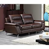 Cortesi Home Chicago Genuine Leather Loveseat, Brown