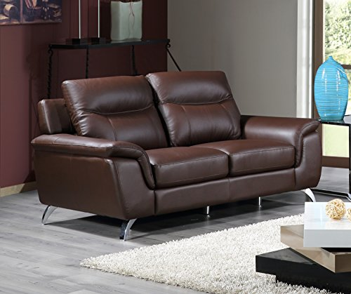 Cheap Cortesi Home Chicago Genuine Leather Loveseat, Brown