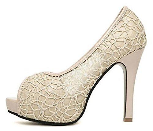 Donalworld Women Bowknot Shoes High Heel Lace Platform Peep Toe Sandals Pt2 5ayLS0W
