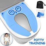 Gimars Upgrade Large Non Slip Silicone Pads Travel Folding Portable Reusable Toilet Potty Training Seat Covers Liners with Carry Bag for Babies, Toddlers and Kids, Blue