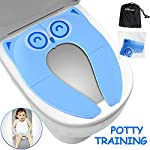 """Gimars Upgrade Large Non Slip Silicone Pads Travel Folding Portable Reusable Toilet Potty Training Seat Covers Liners with Carry Bag for Babies, Toddlers and Kids 8 Upgrade Version 6 pcs Large Nonslip Silicone Pads - Increasing 6 pcs Non Slip padding, not like other suppliers'2 pcs and increase the contact area of friction between the toilet cover and potty training seat, avoiding your babies falling off to the toilet effectively; No Gap to Pinch - Enhance the tightness of joint, more firmly, no gap design solve the problem of pinches bottom. Fits Most standard toilet, helps babies learn how to use toilet bowl in restroom with more confidence when you are out and about Freely switch Foldable To Unfoldable Design - Toilet Seat cover Folds up pretty small size of 7''L x 6''W x 2''H to bring to public restrooms easily and perfect for your children's away-from-home bathroom's needs and compact for """"on the go"""" and traveling; Also can stay Unfoldable 13.5''L x 11 ''W x 1''H, Perfect for every baby potty training everyday use at home"""