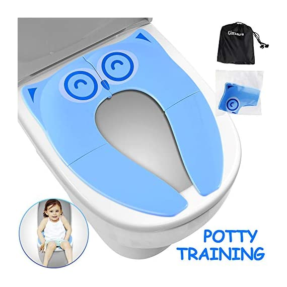 """Gimars Upgrade Large Non Slip Silicone Pads Travel Folding Portable Reusable Toilet Potty Training Seat Covers Liners with Carry Bag for Babies, Toddlers and Kids 1 Upgrade Version 6 pcs Large Nonslip Silicone Pads - Increasing 6 pcs Non Slip padding, not like other suppliers'2 pcs and increase the contact area of friction between the toilet cover and potty training seat, avoiding your babies falling off to the toilet effectively; No Gap to Pinch - Enhance the tightness of joint, more firmly, no gap design solve the problem of pinches bottom. Fits Most standard toilet, helps babies learn how to use toilet bowl in restroom with more confidence when you are out and about Freely switch Foldable To Unfoldable Design - Toilet Seat cover Folds up pretty small size of 7''L x 6''W x 2''H to bring to public restrooms easily and perfect for your children's away-from-home bathroom's needs and compact for """"on the go"""" and traveling; Also can stay Unfoldable 13.5''L x 11 ''W x 1''H, Perfect for every baby potty training everyday use at home"""