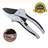 TOSMAN Pruning Shears Anvil Hand Pruners 8 Inch With Safety Lock Sk 5 Carbon Steel Non Stick Blade Japanese Pruners Anti Slip Handle For Cutting Branches Clippers Weak hands in Garden Work