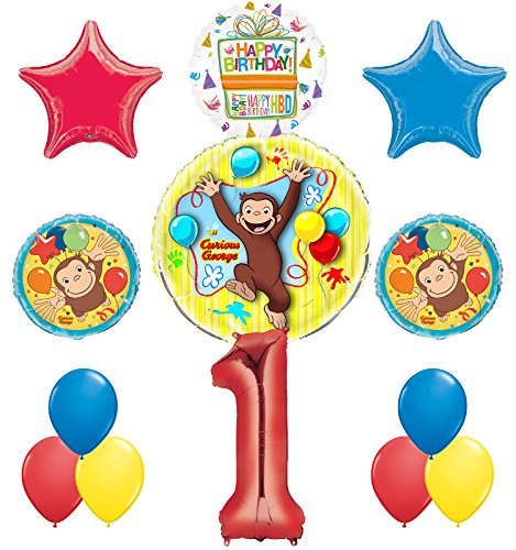 Curious George 1st Birthday Party Supplies Balloon Bouquet Decorations]()