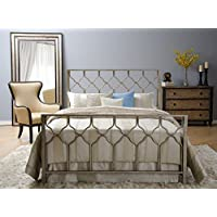 Honeycomb Bed - Brushed Gold - Geometric Headboard, Footboard, Side Rails Bed Set - King