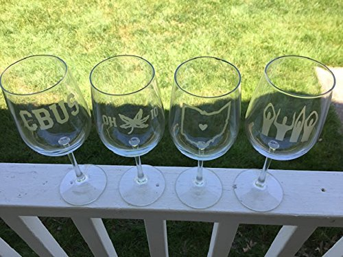 Columbus Wine Glasses - 4 Wine Glasses - Columbus - OHIO - Columbus Wine - Ohio Wine - Barware - Cbus- OHIO - Buckeyes - Ohio - Wine Buckeyes