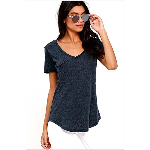 Elakaka Summer Basic Pocket T-shir (Blue,US 14-16)