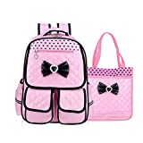 Kid Child Schoolbag Cute Girls Princess Style Backpack Waterproof Travel Bag Comfortable and Breathable Rucksack (Pink Set)