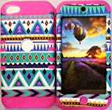 Cellphone Trendz (TM) Hybrid High Impact Bumper Case Blue Green Aztec Tribal / Pink Silicone for Apple iPod iTouch 5 (5th Generation)