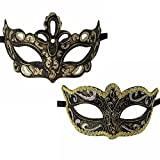 Xvevina Pair Women Men Masquerade Face Mask for Ball Party/Halloween Silver Black Gold