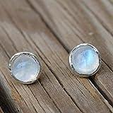 Rainbow moonstone stud earrings 925 Sterling silver Posts-Small 6mm