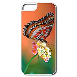 IPhone 5 Cases, Butterfly Flower Cover For IPhone 5 5S - White Hard Plastic