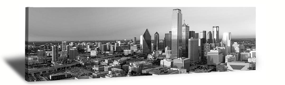LP LIFE ART-B&W Panoramic Cities Dallas Skyline Modern Art work Cityscape Pictures Paintings on Canvas Wall Art Wall Pictures for Bedroom art Home Decorations Office Decor Ready to Hang 14''x48''