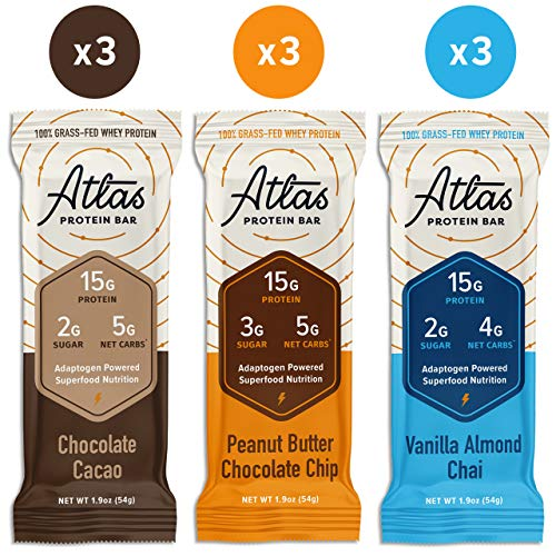 Atlas Protein Bar - Keto Friendly, Classics Variety Pack (9-Pack, 3 of Each Flavor) - Grass Fed Whey, Low Sugar, Clean Ingredients, Gluten Free, Soy Free, and GMO Free