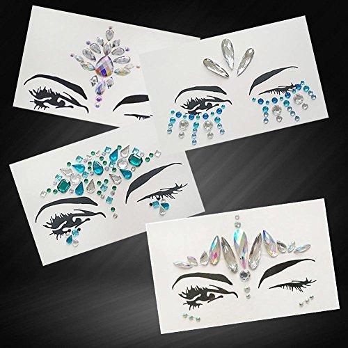 Gracefulvara Crystal Face Body Jewels Festival Party Glitter Eye Tattoo Stickers 28#
