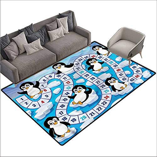 (Indoor Super Absorbs Doormat Board Game,Cute Penguins Antarctica 64