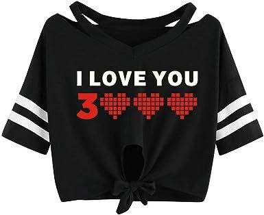 OPAKY Mujeres I Love You 3000 Veces una Camiseta Corta de Manga ...