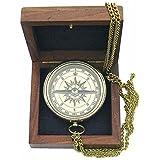 Taschenkompass, Kompass mit Anker Gravur und Kette in Edler Holzbox, Messing