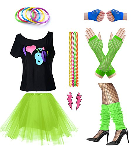 Women I Love The 80's Disco 80s Costume Outfit Accessories Set (M/L, Green) -