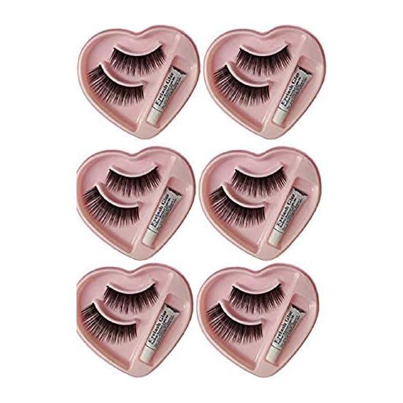 Angelie Heart Shape False-Fake Eyelashes With Glue Set Natural (Pair of 6)