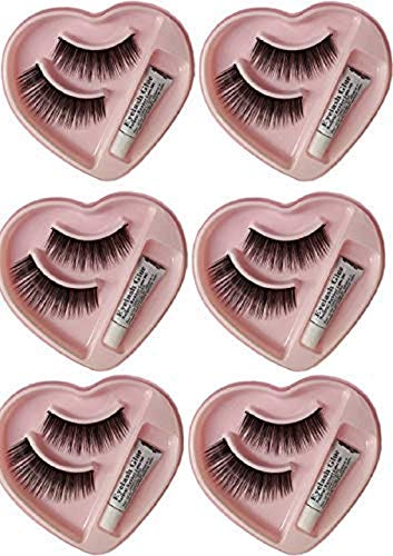 Angelie Heart Shape False-Fake Eyelashes With Glue Set Natural (Pair of 6)