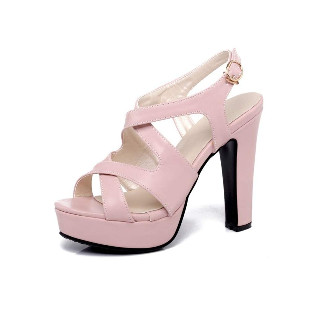 Pink Women's high Heel Women's shoes Super high Heel Sandals Thick with Waterproof Platform Buckle with Roman shoes 37-46