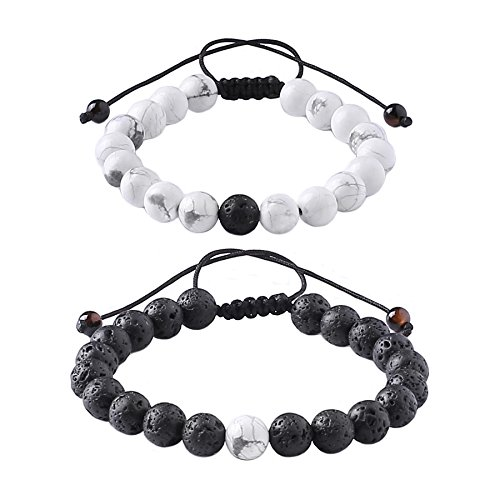 Distance+Relationship+Bracelet+for+Lover-2pcs+Black+Lava+Rock+%26+White+Howlite+Stone+8mm+Beads+%28Braided%29