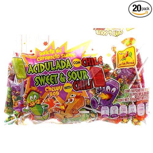 Amazon.com : New 362169 De La Rosa 50Ct Sweet & Sour Chewy ...