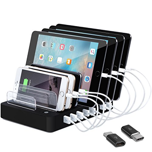 8-Port Charge Station - Multiport USB Charging Dock for Any Smartphone or Tablet – 50 W Desktop Charging Stand Organizer for Multiple Devices Home & Trips (black) by Coffeesoft