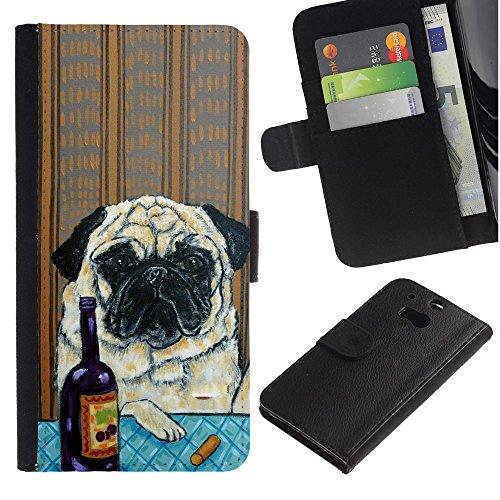 EuroCase - HTC One M8 - pug art wrinkles painting wine dog - Cuero PU Delgado caso cubierta Shell Armor Funda Case Cover