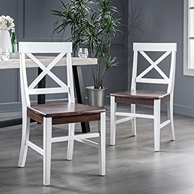 Christopher Knight Home Roshan Farmhouse Acacia Wood Dining Chairs, White / Walnut - These farmhouse dining chairs are a great way to add some rustic style to your home, Built to match the classic farmhouse Chair seen in movies and shows from your childhood about farm Life, These chairs are sure to be a hit at any and all hosting events, made from acacia wood, these chairs are a must have Includes: two (2) dining chairs. Material: Acacia wood. Seat Finish: Walnut Frame Finish: White. Assembly required. Dimensions: 21. 00 inches deep x 17. 75 inches wide x 35. 50 inches high - kitchen-dining-room-furniture, kitchen-dining-room, kitchen-dining-room-chairs - 51f2dB0DPQL. SS400  -