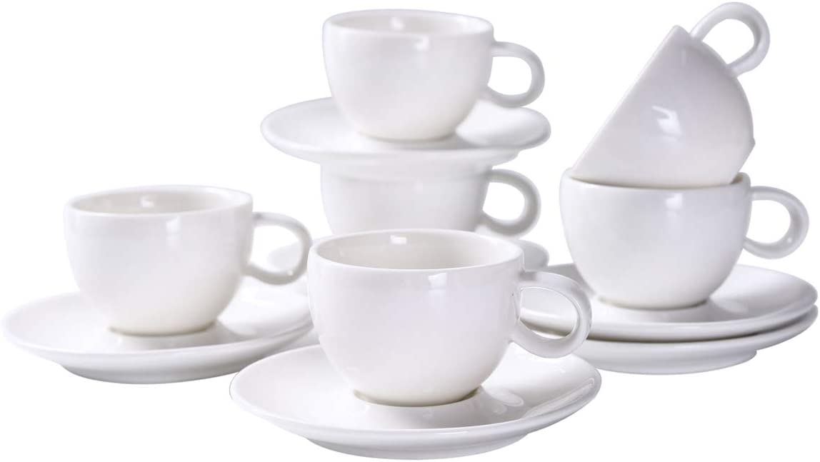 YOLIFE Ceramic Espresso Cups,White Demitasse Cups and Saucers - Set of 6-3 ounce for Coffee