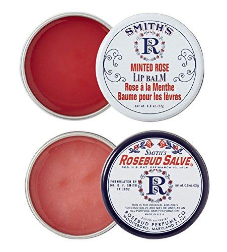 (Rosebud Perfume Co. ROSEBUD SALVE / MINTED ROSE Lip Balm Two Pack: 2 x 0.8 tins)