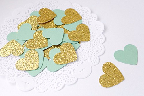 Mint Green&Gold Heart Table Confetti Bridal Shower/Engagement-Wedding Decorations Baby Shower Birthday Party Events Supplies(50 green,50 gold)