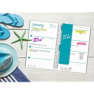 Best Planner 2018 Agenda for Productivity, Durability and Style. 5x8 Daily Planner / Weekly Planner / Monthly Planner / Yearly Agenda. Organizer with BOOKMARK and POCKET FOLDERS (Turquoise Anchors)
