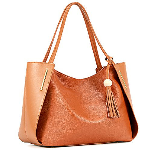 - Kattee Leather Tote Bag Top Handle Shoulder Bag with Tassel Decoration (Brown)